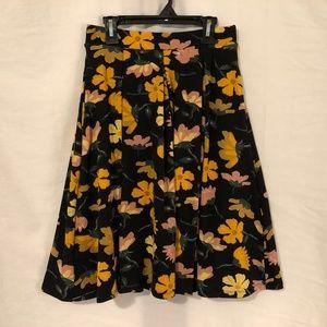 Lularoe XS Skirt Floral Print Black Yellow 1001